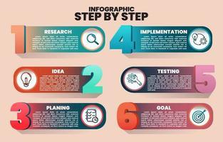 infographic stap voor stap van onderzoek naar doel vector