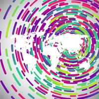 Abstracte wereldkaart met kleurrijke cirkels voor reclame, vector