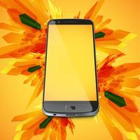 Gele abstracte achtergrond en een realistische smartphone voor zaken, vectorillustratie
