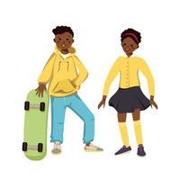 jongen in hoodie en jeans en meisje in rok en shirt met donkere huid vector