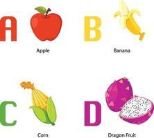 alfabet a -d letter.apple,banana,corn,dragon fruit.vector vector