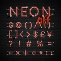 Hoog gedetailleerde neon lettertype ingesteld, vector illustratie