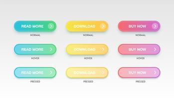 Kleurrijke schone knopen voor websites, vectorillustratie