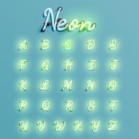 Realistische neonkarakter set, vectorillustratie