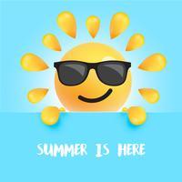 """Grappige zon-smiley met de titel """""""" de zomer is hier """", vectorillustratie"""