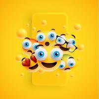 3D en verschillende soorten emoticons met matte smartphone, vectorillustartion vector