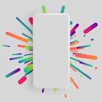 Realistische matte smartphone met kleurrijke achtergrond