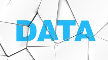 Woord van 'DATA' op een gebroken witte oppervlak, vectorillustratie