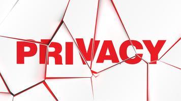 Woord van 'PRIVACY' op een gebroken witte oppervlak, vectorillustratie vector