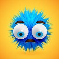 Hoog-gedetailleerd 3D bont smiley emoticon, vectorillustratie vector
