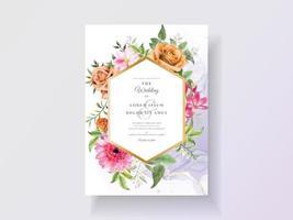 abstracte en bloemen aquarel huwelijksuitnodigingen vector