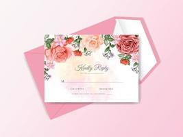 huwelijksuitnodiging met prachtige bloemenwaterverf vector