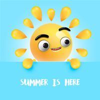Hoogst gedetailleerde gelukkige zonnige emoticon, vectorillustratie vector