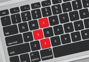 De brieven op toetsenbord vormen een woord, vectorillustratie