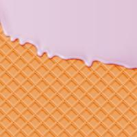 Realistische wafel met smeltend slagroomijs, vectorillustratie