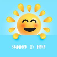 """Grappige zon-smiley met de titel """""""" de zomer is hier """", vectorillustratie vector"""