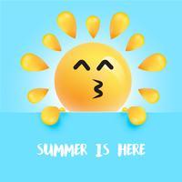 """Grappige zon-smiley met de titel """"summer is here"""" vector"""