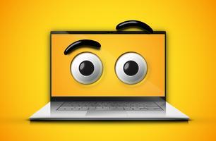 Hoog-gedetailleerde emoticonogen op het notitieboekjescherm, vectorillustratie vector