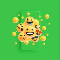 3D en verschillende soorten emoticons met matte smartphone, vectorillustartion
