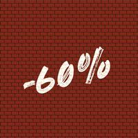 Hoog gedetailleerde bakstenen muur met percentage, vectorillustratie