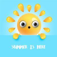 Hoogst gedetailleerd benieuwdde zonnige emoticon, vectorillustratie