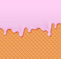 Realistische wafel met smeltende room op het, vectorillustratie