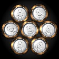 Realistisch pak van 7 bier of frisdrankblikje vanaf de bovenkant, vectorillustratie