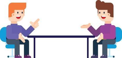 twee mannen zittend in stoelen tegenover elkaar in gesprek. vector