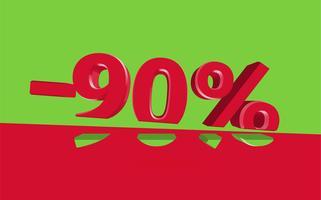 3D verkoopillustratie met besnoeiingspercentage, vector