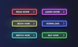 Kleurrijke neonknopen voor websites, vectorillustratie vector