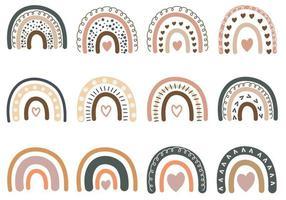 handgetekende set van boho regenboog vector
