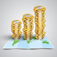 Geld op kaart, vectorillustratie
