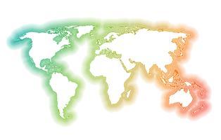 Kleurrijke wereldkaart gemaakt door ballen en lijnen, vectorillustratie