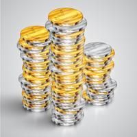 Realistische munten, vectorillustratie vector