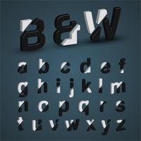 3D-zwart-wit lettertype ingesteld, vector illustratie