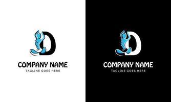 letter d met een yoga-persoon. logo pictogram vectorillustratie vector