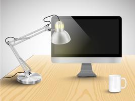 Realistisch bureau met verschillende voorwerpen, vectorillustratie