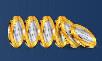 Euro tweekleurige muntstukken tuimelen, vector