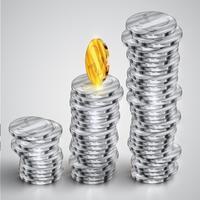 Realistische munten, vectorillustratie
