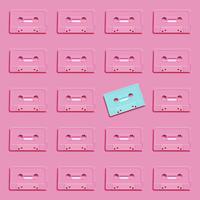 Pastelkleur retro realistische cassette op vlakke achtergrond, vectorillustratie
