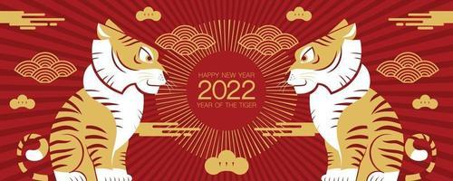 gelukkig nieuwjaar, chinees nieuwjaar, 2022, jaar van de tijger vector