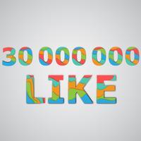 Een aantal likes gemaakt door kleurrijke gelaagde karakters, vectorillustratie
