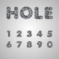 Gelaagde lettertype 'hole', vector