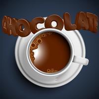 Een kopje realistische warme chocolademelk, vector