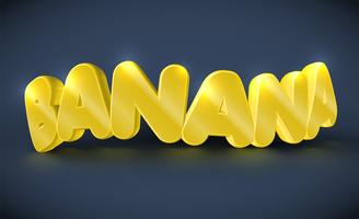 3D-typografie - banaan, vector