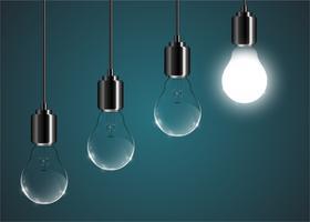 Creatieve lightbulbillustratie op een blauwe achtergrond, vector
