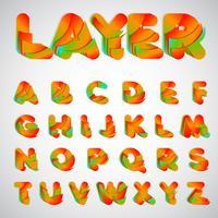 Gelaagde kleurrijke lettertype, vectorillustratie