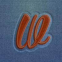 Teken gemaakt door denim, van een lettertype, vector