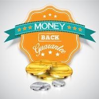 'Geld-terug-garantie'-sticker met realistische munten, vector