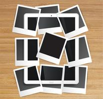 Realistische tablet met fotolijsten, vector